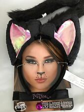 COSTUME Cat KIT Large Kitty Ears Headband Collar Tail Black Pink Set