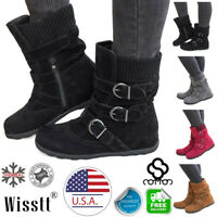 US Womens Winter Warm Ankle Boots Fur Lined Snow Buckle Flat Suede Shoes Booties