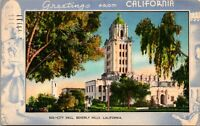 Vtg 1930s City Hall, Beverly Hills, Greetings from California CA Postcard