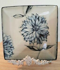"Pier 1 Chrysanthemum Salad Dessert Plate  8.5"" Square Blue Gray Replacements"