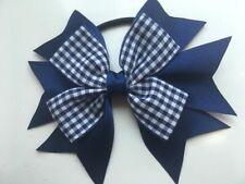 Girls Brown and Light Blue School Hair Bow Bobble x1 School Uniform Dance Bow