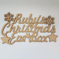 "Personalised ""Christmas Eve Box"" Snowflake & Star Topper, Craft Sign, Plaque."
