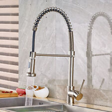 Brushed Nickel Kitchen Faucet Swivel Spout Pull Down Single Hole Mixer Tap