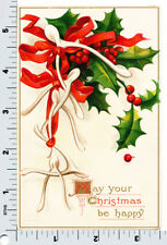 Clapsaddle Christmas Postcard | Holly and White Wishbones | IAP 1544