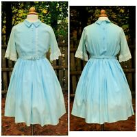 VTG 60's Girls Ombre Blue Cotton Fit Flare Dress Floral Trim Size 12 Self Belt