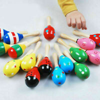 Colorful Wooden Maraca Baby Kids Musical Instrument Rattle Shaker Party Toy Gift