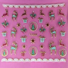 Christmas 3D Nail Art Stickers Decals Gold Snowflakes Reindeer Trees Lace TJ59G