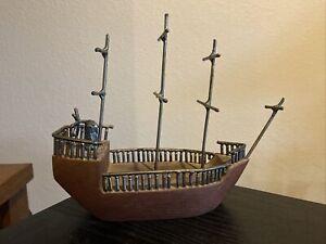 Vintage 1968 Handmade Signed 3 Mast Wood Metal Model Boat Clipper Ship