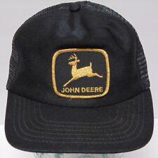 2e16a7bd0aa929 Vintage 1980s JOHN DEERE FARM TRACTORS BLACK PATCH Snapback Trucker Hat Cap  USA