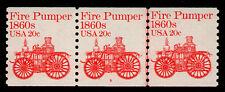 United States, Scott # 1908, Coil Strip Of 3 Pnc # 6, Fire Pumper 1860s, Mnh