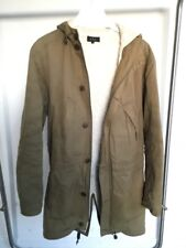 A.P.C KAKI PARKA JACKET COAT - DETACHABLE LINING -  SIZE S / SMALL APC