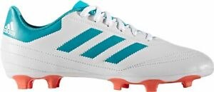 adidas Women Goletto VI FG Soccer Cleats BY2774 White/Energy Blue/Coral BX 28