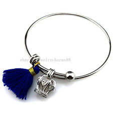 BY32 Silver Tassel 18mm Heart Crown Pearl Oyster Cage Copper Bangle Bracelet