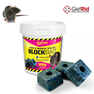 Rat Poison Mouse Killer Bait Pro Strong 300g Block Bait Kills Rodent Single Feed