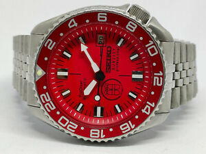 SEIKO DIVER 7002-700J PRODIVER RED SUB200T DIAL MOD AUTOMATIC MENS WATCH 272223