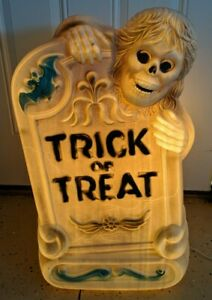 "28"" Vintage Halloween Grim Reaper & Tombstone Blow Mold Trick or Treat Prop Rare"