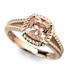 2Ct Cushion Cut Morganite Braided Rope Solitaire Ring Size 7 Rose Gold FN Silver