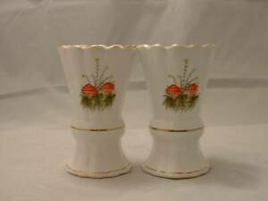 Pair white ceramic vases wild red toadstool / mushroom & floral design, gilding