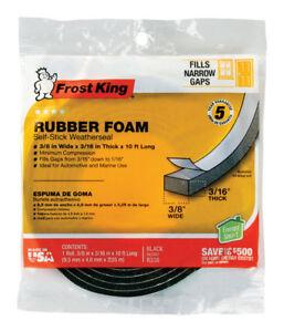 Frost King R338H Sponge Rubber Foam Tape 3/16-Inch, Black