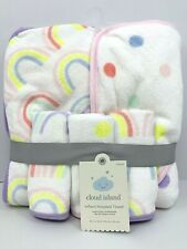 """Cloud Island Hooded Towel Infant 30"""" x 30"""" 5 pack 2 Towels and 3 Wash Cloths NEW"""