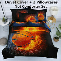 3D Basketball Fire Duvet Cover Quilt Cover Sport Bedding Set Twin Full Size