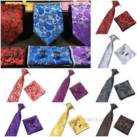 Men's Silk Paisley Tie Jacquard Woven Necktie Pocket Square Handkerchief Wedding