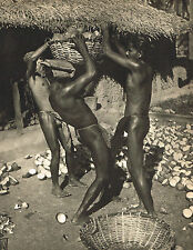 Vintage Lionel Wendt Asian Male Nude Coconut Harvest Photo Gravure Print