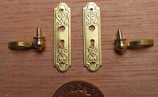 1:12 Scale Metal Door Handle & Plate Set Tumdee Dolls House Knobs DIY 665