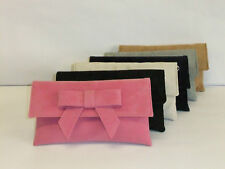 Cute faux suede clutch bag with bow - various colours