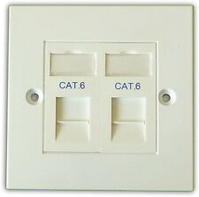2 Way Double LAN RJ45 Data Gigabit Ethernet Network Faceplate & Cat 6 Module