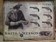 Smith & Wesson Revolver Tin Metal Sign Gun NEW