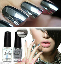 Chrome Nail Polish Set Magic Mirror Silver Effect Laquer 2Pc 2018 Varnish Shiny