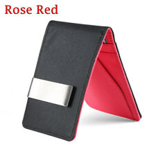 Fashion Men Black Leather Money Clip Slim ID Credit Card Holder Purse Wallet Rose Red