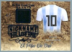 Diego Maradona 2019 Leaf In the Game Patch Prime Jersey Nickname Blue /7