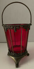 Vintage Cranberry Glass Ice Bucket in Handled, Footed Brass Caddy
