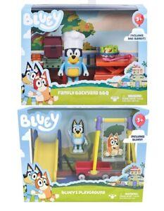 BLUEY Playsets - Bluey's Playground , Family Backyard BBQ playset + figurines