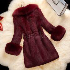 Luxury Ladies Women's Real Genuine Rabbit Fur Big Fox Collar Winter Coat Jackets