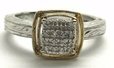 Sterling Silver Two Tone Cushion CZ Cluster Matte Etched Band Cocktail Ring Sz 7