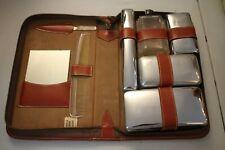 Vintage Men's Vanity Travel Toiletry Grooming Set Kit Leather Case Brown