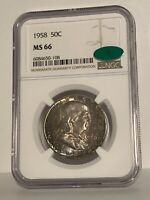1958 PCGS CAC MS66 Gem 💎 BU Uncirculated Monster Toned Silver Franklin Half