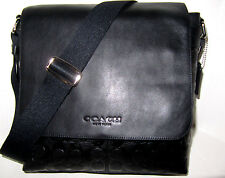 New Coach F72110 Men's Sullivan Signature Messenger Bag Black Leather NWT $425