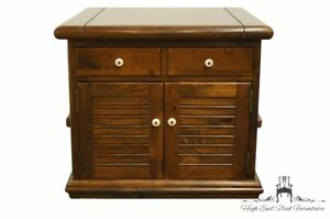"""ETHAN ALLEN Antiqued Pine Old Tavern 27"""" Square Storage Accent End Table w. S..."""