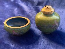 Vintage Chinese Cloisonné Salt Cellar & Pepper Shaker - Aqua & Pink on Lt Green