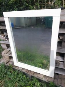 Solid Oak mirror Cream Painted 76cm by 60cm