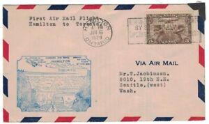 ANTIQUE 1929 FIRST FLIGHT AIR MAIL COVER HAMILTON TO TORONTO CANADA