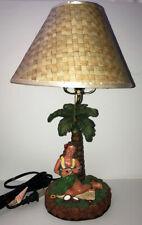 "Hawaiian Handcrafted Hula Girl Lamp Lauhala Shade 17""H Hawaii Palm Tree Coconuts"