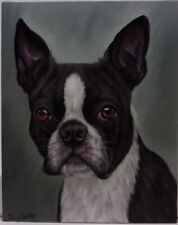 Boston Terrier Dog Oil Painting Portrait realism style