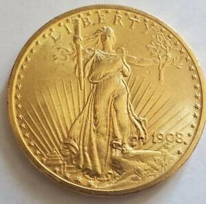 1908 $20 Gold St. Gaudens No Motto BU