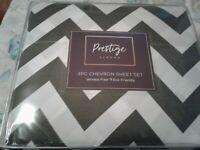 Prestige Linens 1600 Series King Sheet Set Chevron White and Charcoal