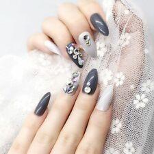 Shiny Press On Nails Full Manicure Cover Long Fake Nail Tips Accessory Kit 24pcs
